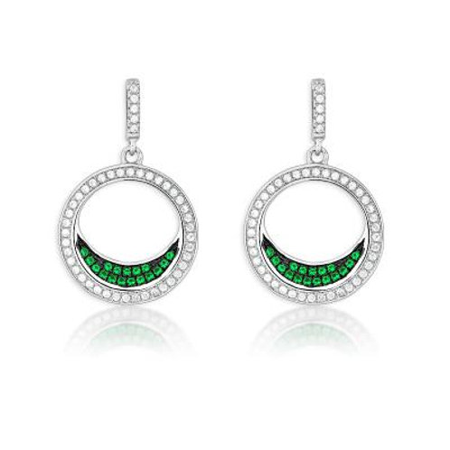 Gorgeous Emerald Color Micro Pave Earrings TCSE-D-5162