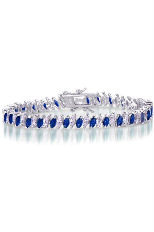 Sterling Silver Marquise Shaped  CZ Sapphire StoneTennis Bracelet BR1982-L-S