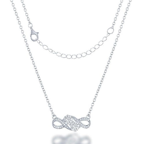 STERLING SILVER OVERLAPPING CZ NECKLACE
