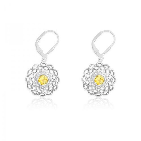 DIA. WITH CENTER CITRINE FLOWER SHAPED EAR. D-5119