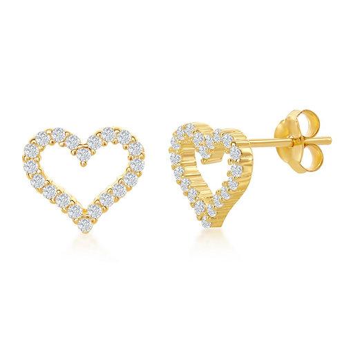 Sterling Silver Gold Plated Open Heart Stud Earrings CL-D-6912-GP