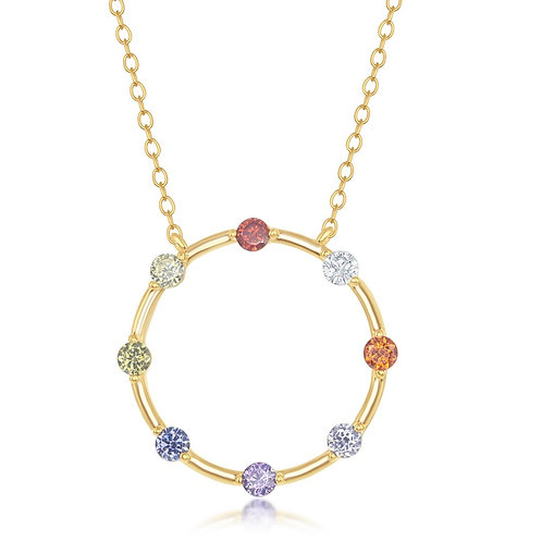 """Sterling Silver 16+2"""" Gold Plated Rainbow Open Circle Necklace CL-M-6233"""
