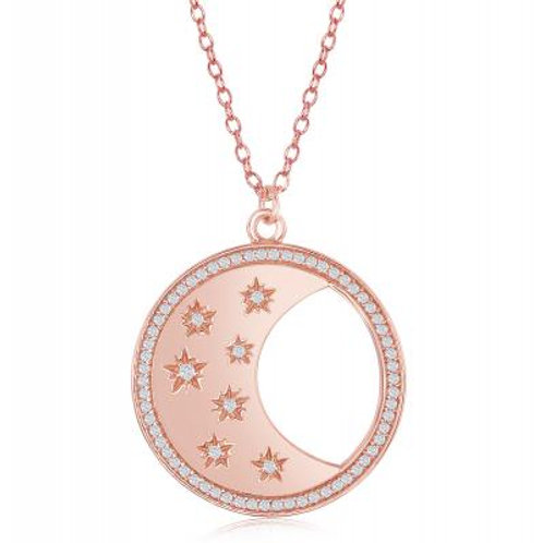 Sterling Silver Circle with Crescent Moon & Stars Necklace CSN-M-5819