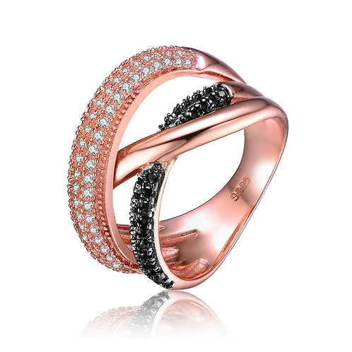 Rose Gold Overlay Black and Clear Cubic Zirconia Interlocked Ring R2452