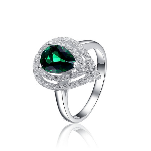 Sterling Double Halo Pear Shaped Emerald Style Ring TCR-R5670-E