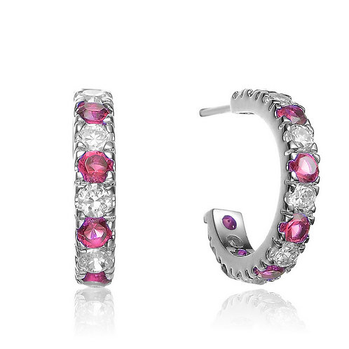 SS/Platinum Plated Omega style Ruby Style Earrings TCE-EAR662-R