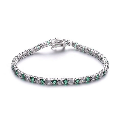 4mm Sterling Silver Platinum Plated Emerald Color Style Bracelet TCB-BR780-4-E