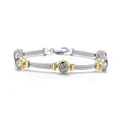 2 Tone Bezel Set Cable Style Bracelet CB-BR1415-RO-6