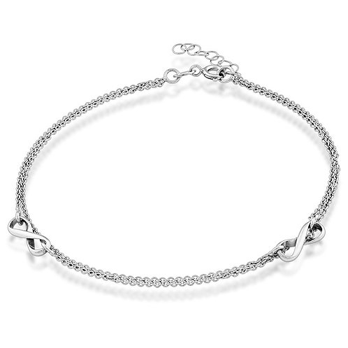 Sterling Silver Double Strand Infinity Anklet ANK-R-9115