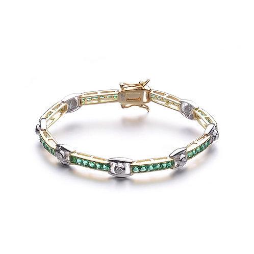 Sterling Silver Two Tone Emerald Bracelet TCB-BR2096-E