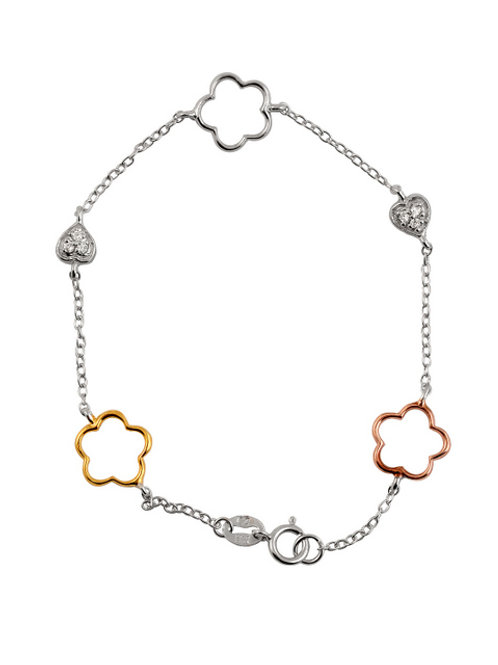 Sterling Silver Heart and Open Clover Bracelet TCSB-BR1055-TRI