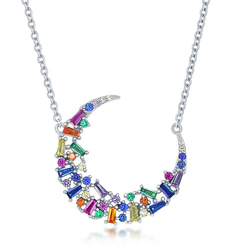 Sterling Silver Rainbow Baguette Crescent Moon Necklace SCN-M-6277