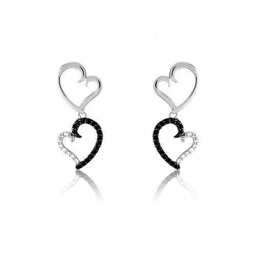 CZ EARRINGS Dangling Heart Earrings D-4640