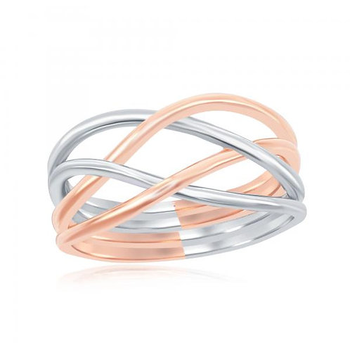 Sterling Silver Rhodium and Rose Gold Plated Interlocking Ring CSR-W-1944