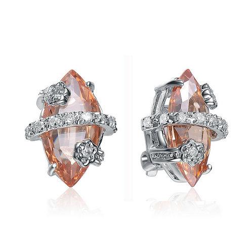Sterling Silver Peach Diamond-Shaped Cubic Zirconia Earring EAR941-C