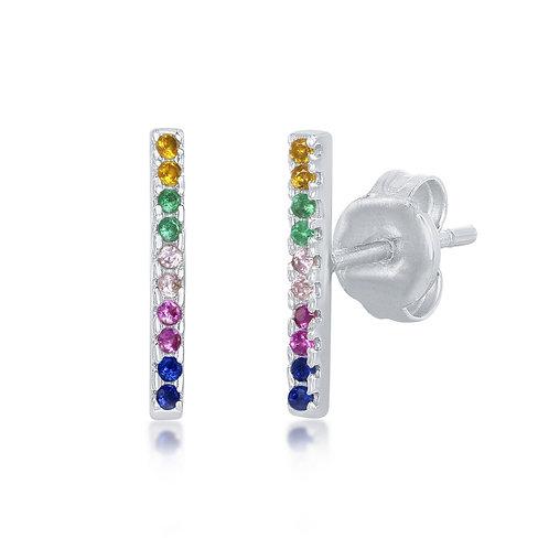 Sterling Silver Rainbow Bar Stud Earrings CL-D-7135