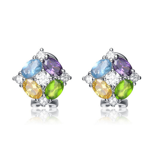 Sterling Silver Multicolor Cluster Earrings CSE-EAR631