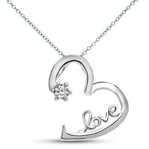 Sterling Silver Floating Heart 'LOVE' Necklace TCN-PEN005