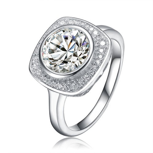 Sterling Silver with Rhodium Plated Pave` Square style Eng. Ring TCR-R7042