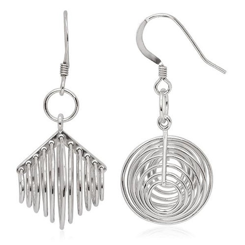Sterling Silver Multi Ringed Earrings CSE-A-2282