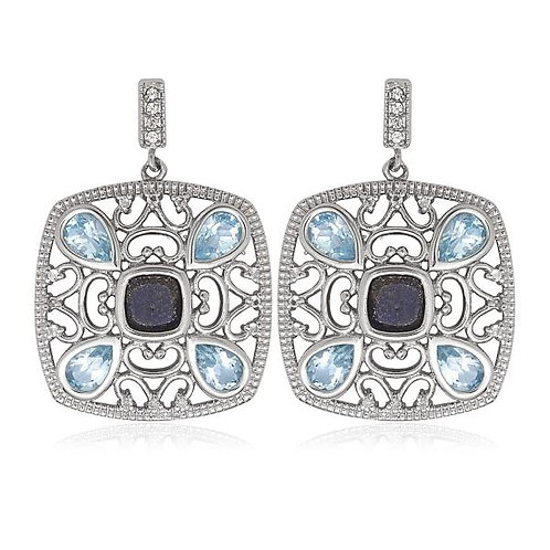 Sterling Silver Square with Blue and White Topaz Earrings CSE-D-5336