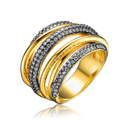 18k Gold Plated Crossover Ring With Black Rhodium Pave` CSR-R3605-GP