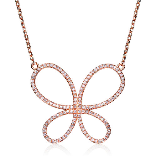 SS Rose Toned Butterfly Design Necklace with Pave stones CSN-NEC7080-ROSE