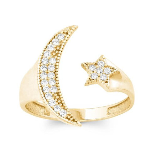 GP CZ MOON AND STAR RING W-9970