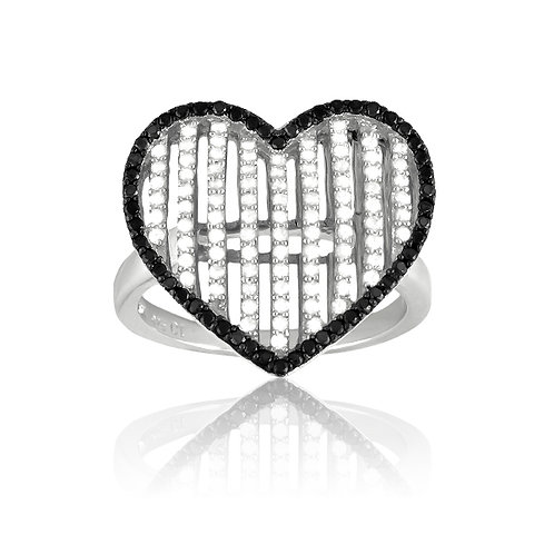 MICRO PAVE HEART RING W-9135