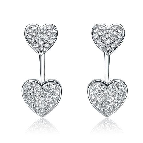 Sterling Silver Double Heart Jacket Earrings TCSE-EAR8702-RP