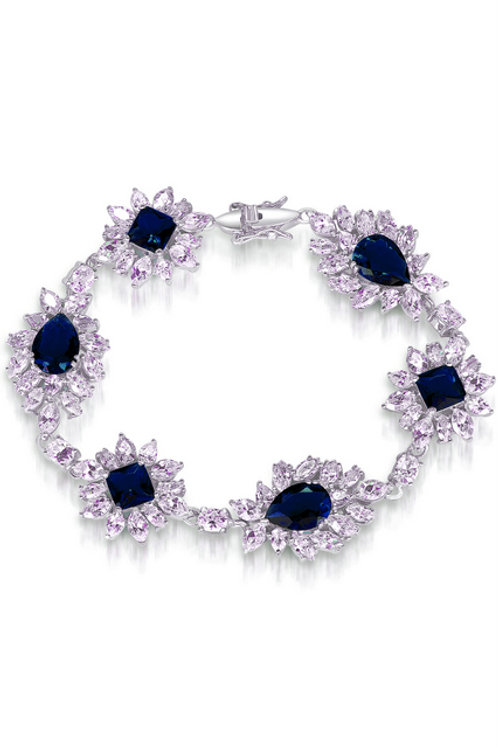 Sterling Silver Sapphire & Clear Stone Dazzling Bracelet TB-BR369-SAPH