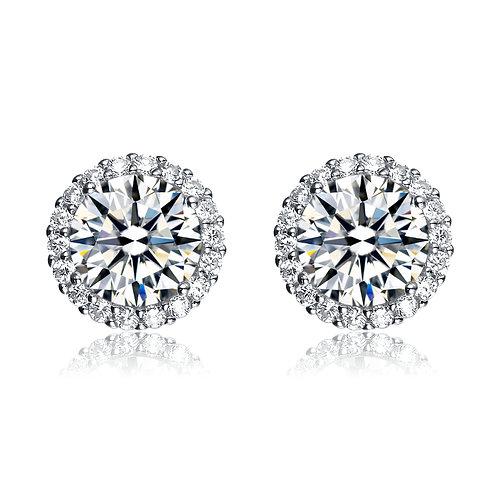 6.00ctw. Fancy  Round Halo Style Stud Earrings TCE-BEAR3046