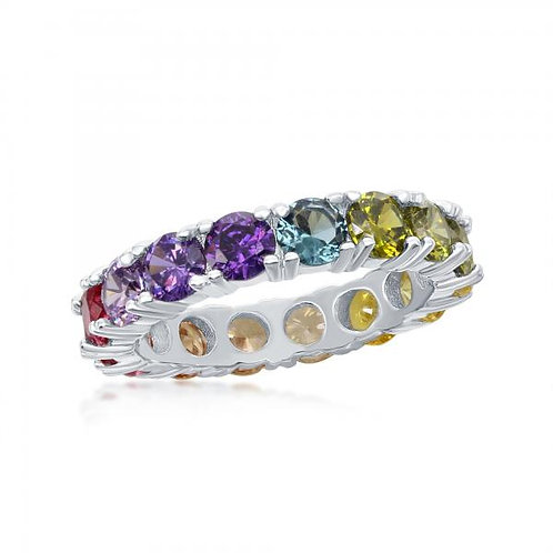 Sterling Silver Rainbow Stone Eternity Band Ring CSR-W-2116