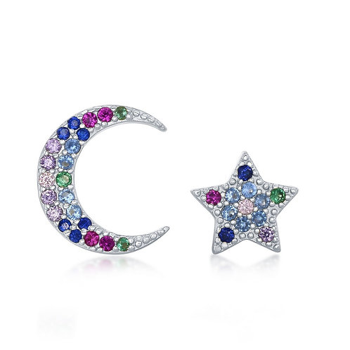 Sterling Silver Crescent Moon and Star Rainbow Stud Earrings CL-D-7136
