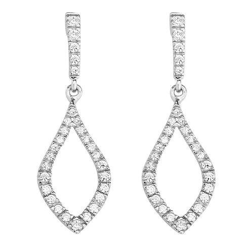 Sterling Silver Open Micro Pave Marquise Earrings CL-D-5435