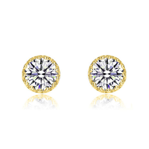 Gold Plated Stunning Halon Stud Earrings 1.5ctw TCE-EAR0005-GP