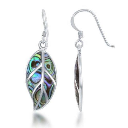 Sterling Silver Large Abalone Leaf Earrings CSE-D-6306