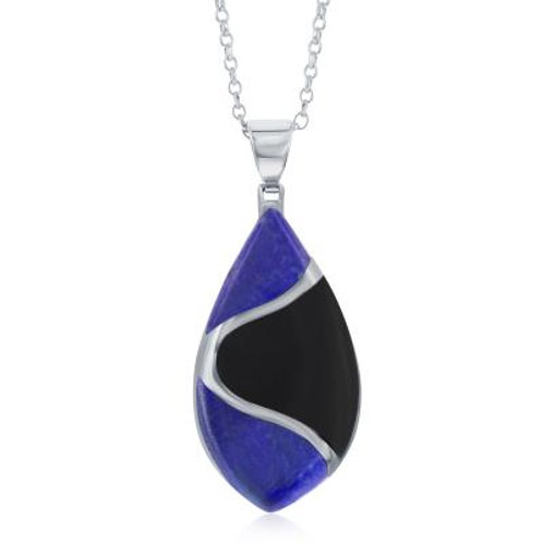 Sterling Silver Onyx and Lapis Designed Oval Pendant W/Chain CSN- K-8029