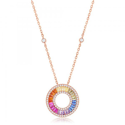 Sterling Silver Rose Gold Toned Rainbow Baguette Open Circle Necklace CSN-M-6095
