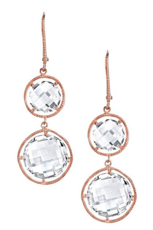 Cushion Cut 2 Stone  Rose Gold Toned Drop Earrings CSE-GE1031-1-ROSE