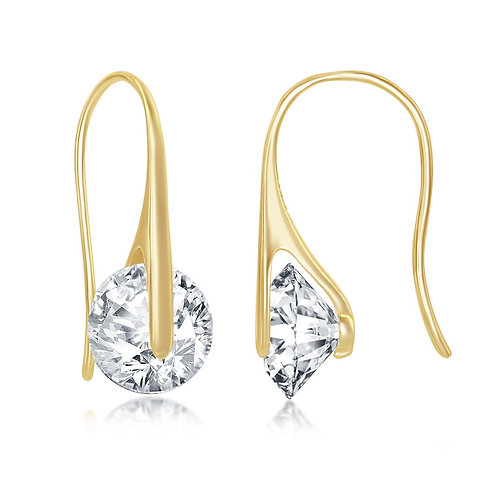 Sterling Silver Gold Plated Round Frenchwire Earrings CL-D-7256-GP