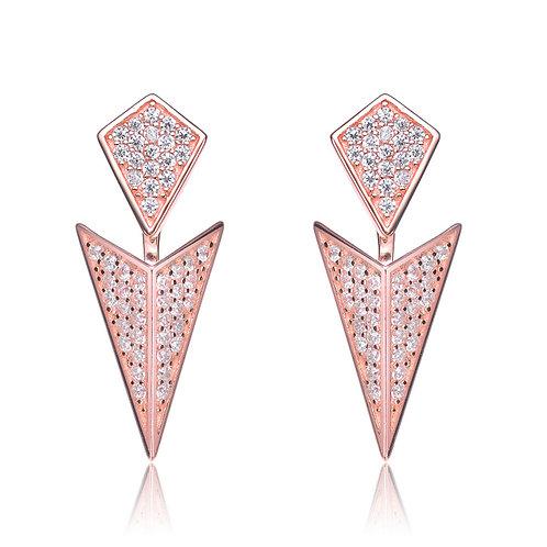 Sterling Silver Rose Toned  Rock N' Roll Jacket Earrings CSE-EAR8716-ROSE