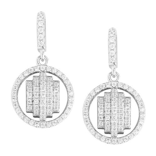 STERLING SILVER ROUND CZ  PAVE SET EARRINGS