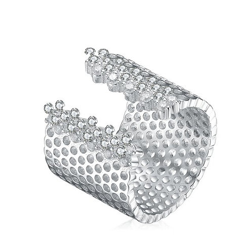 Sterling Silver with Rhodium Plated Accent Wide Cuff Ring CSR-R9954