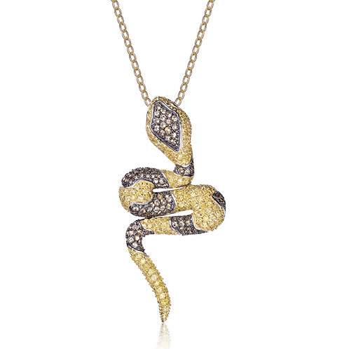 Gold Toned with Chocolate Stone Snake Necklace CSN-PEN1708