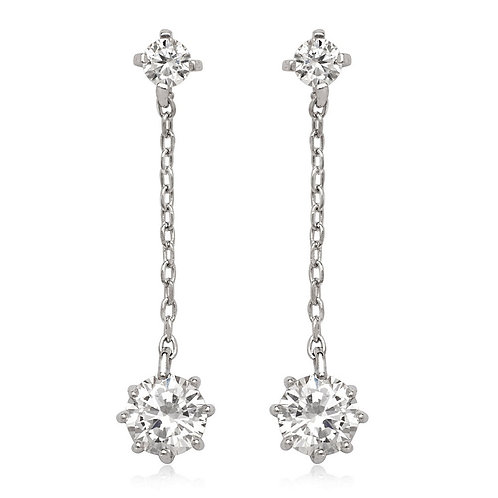 Sterling Silver Hanging Chain with Small Earrings CL-D-5644