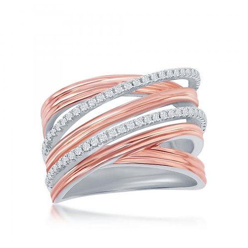 Sterling Silver Two-Tone Rose Gold Plated Crossover Ring CSR-W-2050