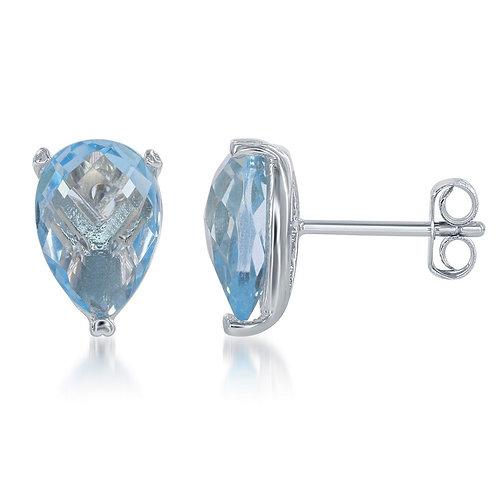 Sterling Silver Teardrop Blue Topaz Earrings CL-D-5656