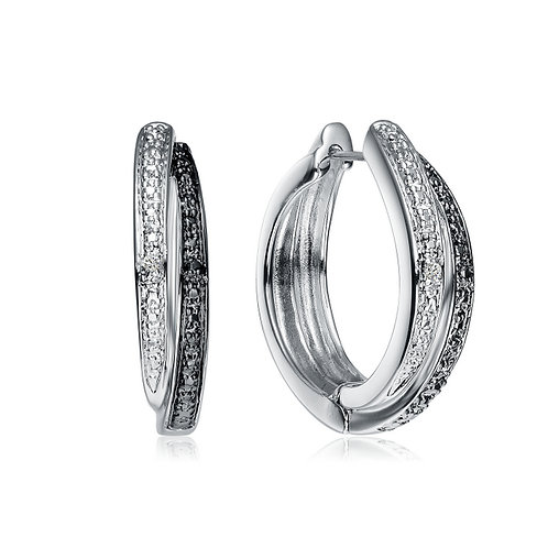 Sterling Silver Rhodium And Black Plated Diamond Accents Hoop Earrings DEAR9000