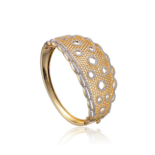 C.Z. Sterling Silver Gold Plated Lace Bangle BR8047